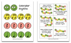 I <3 Pianoanne! She has super fun and cute things AND it's free! :-D Caterpillar Rhythm Printable.