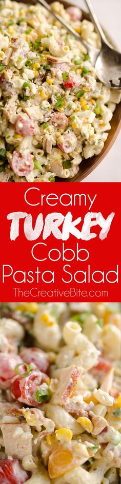 Creamy Turkey Cobb Pasta Salad is a fresh and flavorful side dish perfect for your next picnic or potluck. Pasta, Jennie-O turkey breast, bacon, bleu cheese and veggies are tossed in a zesty avocado sauce for a salad bursting with flavor and crunch. Best Side Dishes, Veggie Side Dishes, Side Dish Recipes, Easy Dinner Recipes, Vegetable Dishes, Healthy Pasta Recipes, Healthy Pastas, Avocado Recipes, Salad Recipes