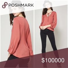 Dusty coral tie front Modal fabric tunic! Hi lo rounded cut with cuffed sleeves and tie front- stunning and so soft Tops