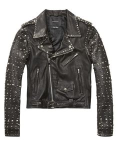 For trendy vintage style wear this studded leather biker jacket with a basic t-shirt and skinny jeans.