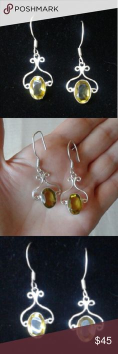 """Handcrafted Lemon Topaz Dangle Earrings 925SS New...Beautiful, Artisan, Handcrafted, Lemon Topaz Earrings in Solid .925 Sterling Silver, Around 1 3/4""""L...Exquisite of Design...Comes With a Packaged, Anti-Tarnish, Polishing Cloth. Fine Handcrafted Artisan Jewelry Earrings"""