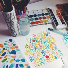 Series of watercolor patterns