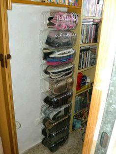 Water bottles into shoe rack