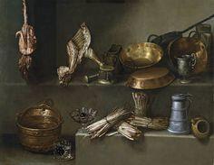 """""""Bodegón con recipientes de cocina y espárragos"""", Ignacio Arias, ca. 1652"""