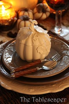 Brown Thanksgiving Table With White Pumpkins, layered white and brown plates, old fashioned glass goblets and carved, pumpkin shaped tureens with candles Rustic Thanksgiving, Thanksgiving Tablescapes, Thanksgiving Decorations, Christmas Decorations, Holiday Tablescape, Fall Table Settings, Beautiful Table Settings, Place Settings, Autumn Table