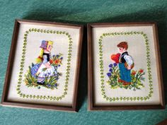 Little Dutch boy and girl crewel work by BetsyFernVintage on Etsy, $20.00