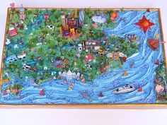Sara Drake -  3D Map of SE England made for private client. Paper, balsa wood, beads and mixed media