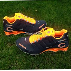 Mens Chicago Bears Nike Shox by BlinginBlitz on Etsy Chicago Bears Shoes, Chicago Bears Wallpaper, Nike Runners, Nike Shox, Crazy Shoes, American Football, Sport Outfits, Sports Apparel, Trending Outfits