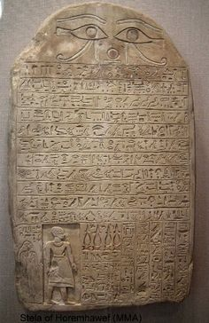 Horemkhawef is well known for his limestone biographical stela which was found outside the tomb by Lansing in 1934. Now in the Metropolitan Museum in New York, the stela records Horemkhawef's trip to the Middle Kingdom capital of Itj-tawy (Lisht) to receive a new cult statue of Horus and Isis from an unnamed king.