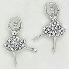 "Womens or Girls Earrings, Ballet Dancer, Color : Silver / Clear • Size : 3/4"" W, 1"" L • Dancing Ballerina Crystal Stud Post Earrings, Rhinestones"