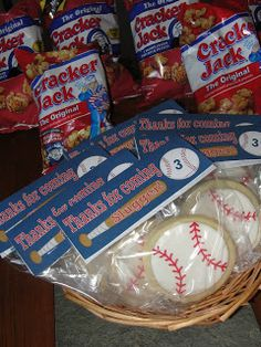 A Baseball Birthday Party - goodie bags for baseball cookies
