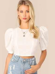 To find out about the Puff Sleeve Keyhole Back Crop Top at SHEIN, part of our latest Blouses ready to shop online today! Strappy Crop Top, Halter Crop Top, Cotton Crop Top, Cropped Tops, Look Fashion, Fashion Outfits, Fashion Moda, Looks Chic, Denim Top