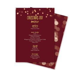 This Microsoft Word template makes creating your Christmas menu as easy as pie. Just type your menu in the provided text boxes and print! Each course has its own text box that you can resize and move as needed. The course headings are graphics to ensure that they print properly but can