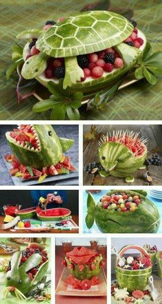 Wow Watermelon Designs, Watermelon Ideas, Watermelon Carving Easy, Watermelon Turtle, Watermelon Fruit Bowls, Watermelon Basket, Watermelon Decor, Carved Watermelon, Fruit Salad