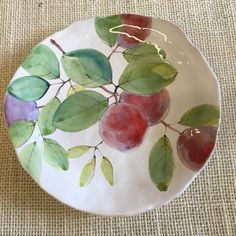 """8"""" maiolica plate Plums on White Handmade by Laurie Curtis - #pascuasideaskids #pascuasideas #pascuasideasdecoracion #pascuasideasmanualidades #pascuasideashuevos"""
