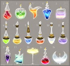 Potions and elixirs commissions by Rittik-Designs on DeviantArt Anime Weapons, Fantasy Weapons, Potion Bottle, Wow Art, Magic Art, Anime Outfits, Game Design, Art Tutorials, Game Art