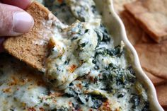 Dive your chips into Hot Spinach Artichoke Dip from #Walmart Mom Tina.