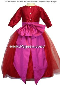 e4d291b34e5 Poppy and Magenta Silk Flower Girl Dress with Red Tulle