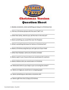 Looking for an activity Christmas this year? This CHRISTMAS FAMILY FEUD game is a perfect addition to a Christmas birthday game, youth group game, classroom game or Christmas with the family. Poll your guests ahead of time with a separate question sheet (included). Tally the answers on the Host Answer Sheet, create a simple game board on a dry erase or poster board (example included) and you are ready to play. The INSTANT DOWNLOAD game includes 25 questions in a separate PDF for emailing…