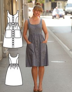 Button Down Dress Pattern - Midi Dress Pattern - Midi Dress Sewing Pattern - Midi Dress patterns - Pollyanna Pocket Dress Sewing Pattern Youll feel amazing wearing this stylish Midi Dress! Its a lovely button down dress thats perfect for so many occasions Sewing Patterns Free, Free Sewing, Pattern Sewing, Dress Sewing Patterns, Dress Patterns Women, Fashion Patterns, Sewing Aprons, Fabric Sewing, Skirt Patterns