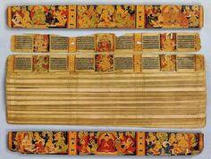 Nalanda university literature carefully preserved in Tibet Buddhist Texts, Buddhist Art, Illuminated Letters, Illuminated Manuscript, Tibetan Art, Tibetan Script, Book Presentation, Leaf Book, Legends And Myths