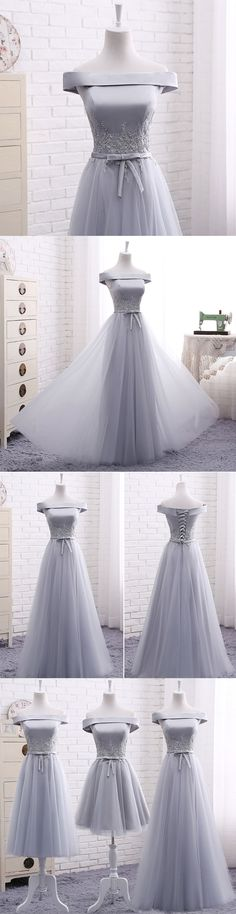 Little Cute | Elegant A line gray off shoulder long prom dress, short evening dresses | Online Store Powered by Storenvy