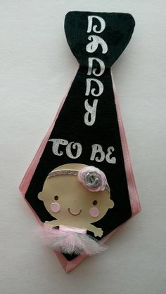 Daddy to Be Tie Pin Gray and Pink Ballerina by fourDOLLYSboutique