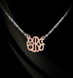 Jane Basch Designs - Gold Script Monogram on Sterling Silver Necklace