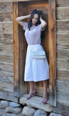 graphic tee + midi skirt