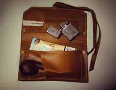 Leather Pipe case / pouch Tobacco Roll & Carrying di PiBuShop