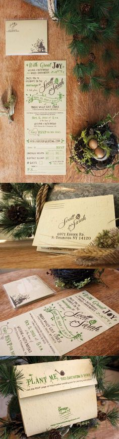 our invitations!   #wedding #invites #woodsy #pinecones #recycled #seeded #rustic © 2013  http://design-beast.com