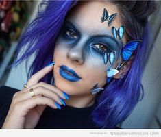 15 + Karneval Make-up-Ideen, Schmetterling, Schmetterling Make-up, Schmetterling s . - Kids Snacks - Make Up Brushes - DIY Piercing - Red Hair Styles - DIY Interior Design Butterfly Makeup, Butterfly Costume, Blue Butterfly, Makeup Tools, Makeup Hacks, Makeup Tutorials, Makeup Brushes, Makeup Ideas, Makeup Kit