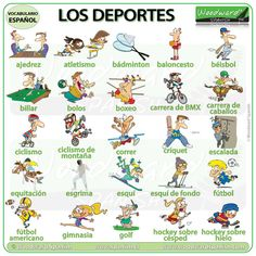 A list of sports in English with a video to help with the pronunciation of the name of each sport. Learn English Words, English Study, English Lessons, English English, English Class, Gymnastics Horse, Woodward English, List Of Sports, Sport English