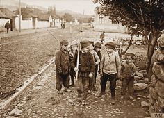Serbian children playing soldiers at Vranic WWI