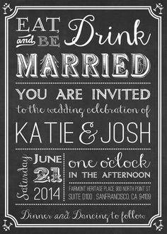 Chalk Board Wedding Invitation Fully by designbydetail on Etsy