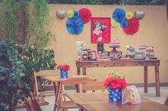 festa infantil liga da justine santa dica festas inspire-21 9th Birthday, Birthday Party Themes, Girl Birthday, Girl Superhero Party, Birthday Display, Wonder Woman Party, Geek Party, Popular Birthdays, Alice