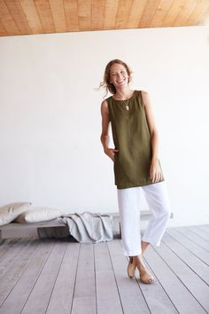 Pure Jill sleeveless linen tunic