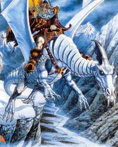 Artist by Larry Elmore Dungeons And Dragons Online, Pin Up, Dragon Rider, Sword And Sorcery, Fantasy Setting, White Dragon, Science Fiction Art, Fantasy Series, Medieval Art