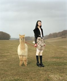 """Venus & Furs"" by Swiss Photographer Yann Gross, Hyères Fashion & Photography Festival, France. Photo: ""Tatiana and Belene, from the series Venus & Furs"". Taylor Wessing photographic portrait prize (Photo by Yann Gross) Alpacas, Farm Animals, Cute Animals, Llama Alpaca, Shooting Photo, Wow Art, Portraits, Portrait Ideas, Art World"