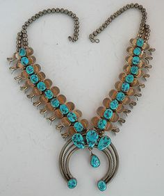 Old Navajo, Turquoise & Sterling squash blossom, necklace, rustic, hand stamped