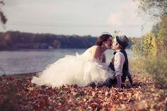 wedding bride groom couple love kiss autumn fall leaves ...