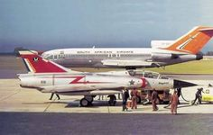 Mirage III BZ 816 in PE in the late with an SAA Boeing 727 in the background Air Force Aircraft, Fighter Aircraft, Fighter Jets, Military Jets, Military Aircraft, South African Air Force, Airline Logo, Boeing 727, Civil Aviation