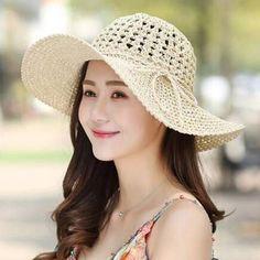 fa4119afdbd Crochet straw hat for women UV hollow wide brim sun hats for travel