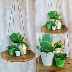 Plant stand and planters Made from up-cycled materials. Planted with Cool Succulents, Clay Pots, Hanging Plants, Upcycle, Recycling, Room Ideas, Planters, Photo And Video, Handmade
