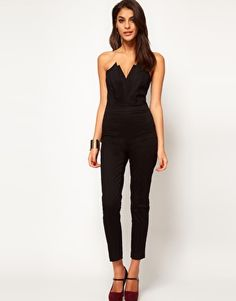 Black Sexy Deep V Neck Strapless Jumpsuit with Pleated Bust Origami Detail Black Strapless Jumpsuit, Plunging V Neck Dress, Pleated Jumpsuit, Backless Jumpsuit, Casual Jumpsuit, Black Jumpsuit, Summer Jumpsuit, Bodycon Jumpsuit, Jumpsuit Outfit