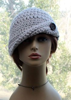 Crochet Womens Hat, winter hat, cloche style hat, asymmetrical brim, 20s style hat, wood button, chunky ladies hat, fashion hat