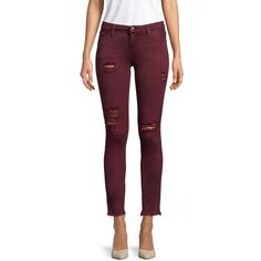 IRO Women's Jarod Distressed Skinny Jeans - Red, Size 24 ($80) ❤ liked on Polyvore featuring jeans, red, denim skinny jeans, raw hem skinny jeans, ripped jeans, skinny jeans and purple skinny jeans