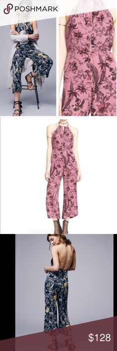 FREE PEOPLE FLORAL ROMPER jumpsuit In a lightweight crinkly rayon this printed wide leg one-piece jumpsuit is featured in a halter silhouette with an adjustable tie at the neck. Plunging neckline with an open back and hidden back zip closure. Lined 2520254. This the lilac color.❗️promo price excluded from bundle sale❗️  RETAIL: $108 SIZES: 2, 6, 8, 10, 12 I also have black and Ivory ❤I have over 300 new with tag Free People items for sale! I love to offer bundle discounts! ❤No trades. Use…