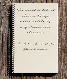 Sherlock Holmes Journal - Sherlock Holmes Notebook - Obvious Things