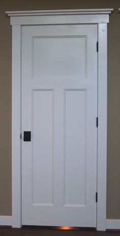 Craftsman style interior doors, stained wood instead, with same trim style at top